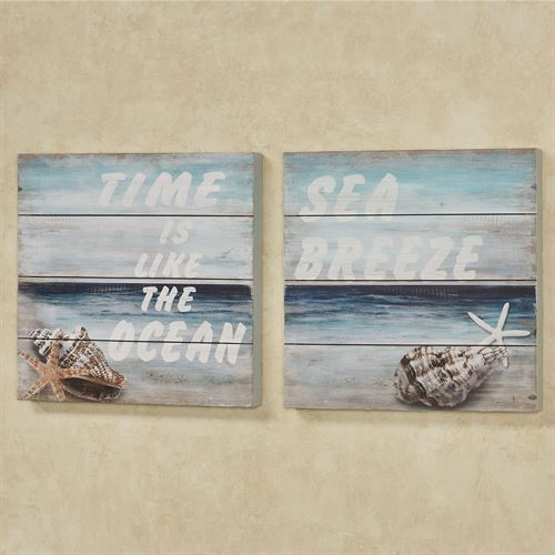 Shells on the Shore Coastal Wall Art Plaques Blue Set of Two