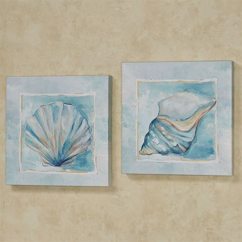 Watercolor Shells Canvas Wall Art Blue Set of Two