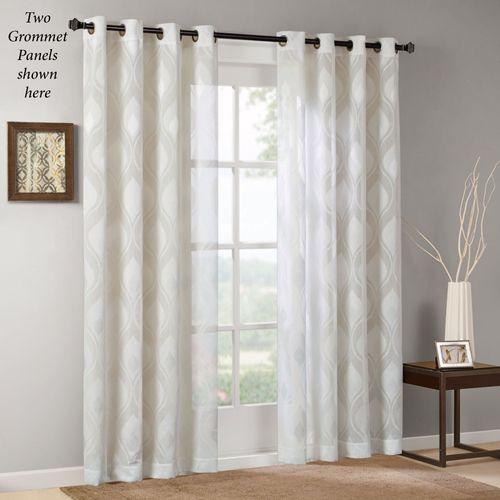 Adele Semi Sheer Grommet Curtain Panel Ivory