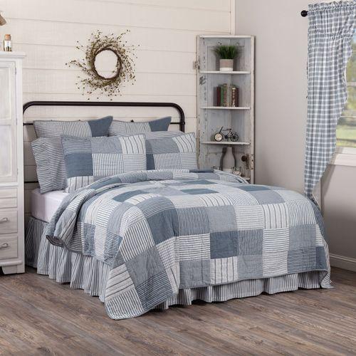Sawyer Mill Blue Patchwork Quilt Steel Blue