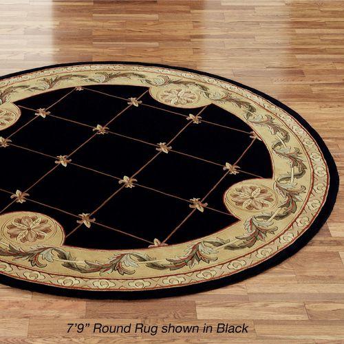 Jewel Fleur De Lis Round Rug  79 Round