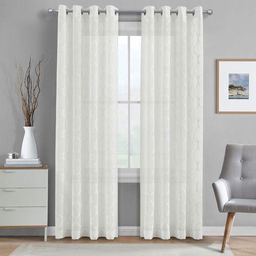 Paley Semi Sheer Wide Grommet Curtain Pair Ivory