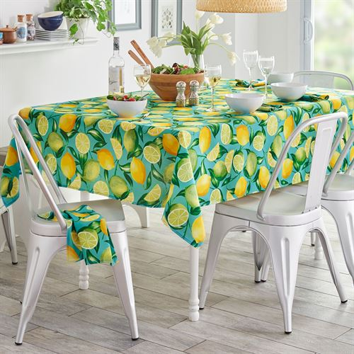 Lemon Orchard Oblong Tablecloth Aqua