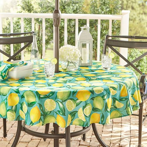 Lemon Orchard Zippered Round Tablecloth Aqua 70 Diameter