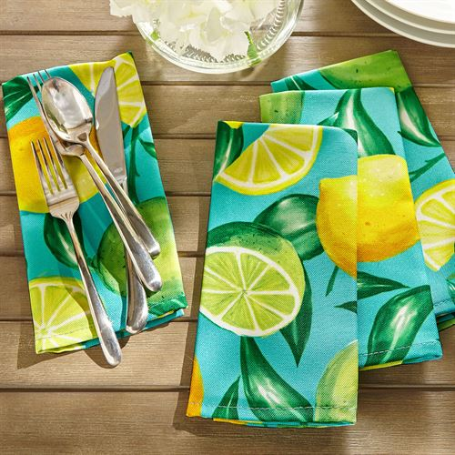 Lemon Orchard Napkins Aqua Set of Eight