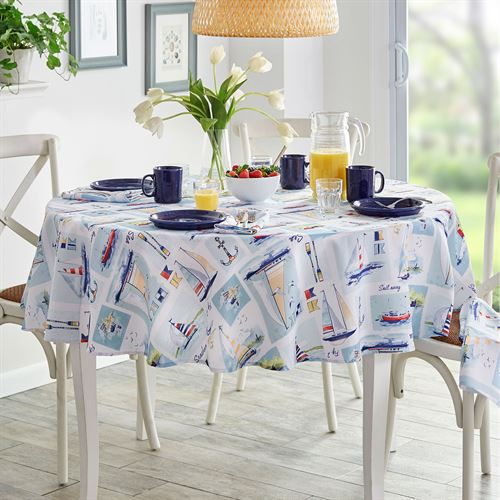 Set Sail Round Tablecloth Multi Cool 70 Diameter