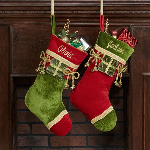 Green Christmas Present Stocking