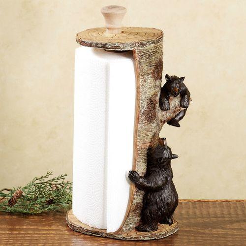 Woodland Bears Paper Towel Holder Black