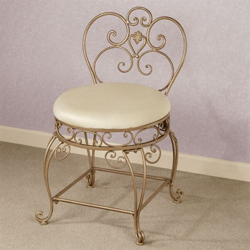 Aldabella Satin Gold Vanity Chair