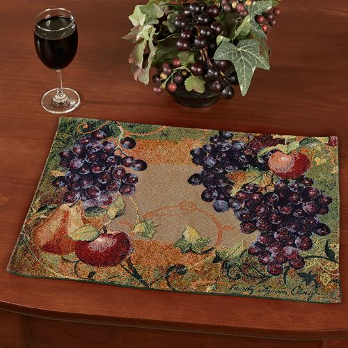 Tuscan Countryside Fruit Placemats Multi Warm Set of Four