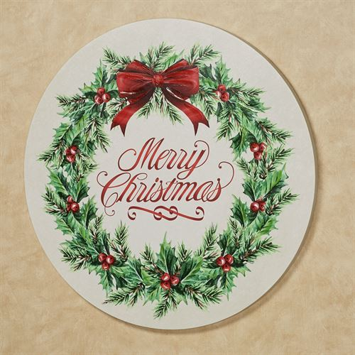 Holly Wreath Canvas Wall Art Red/Green