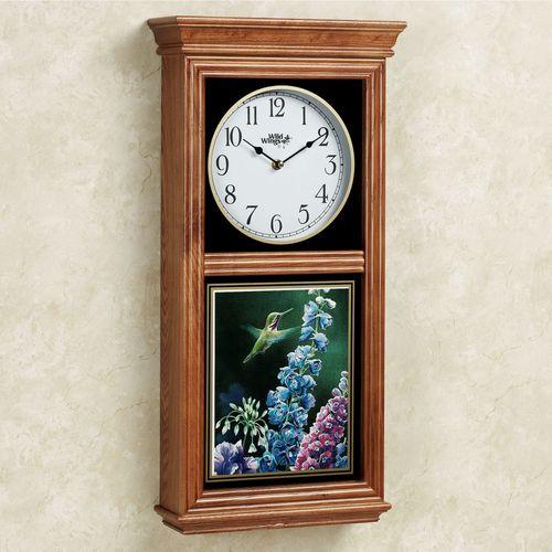 Hummingbird Wall Clock Oak