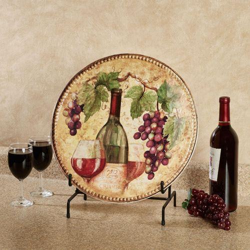 Gilded Wine Round Serving Platter Multi Earth