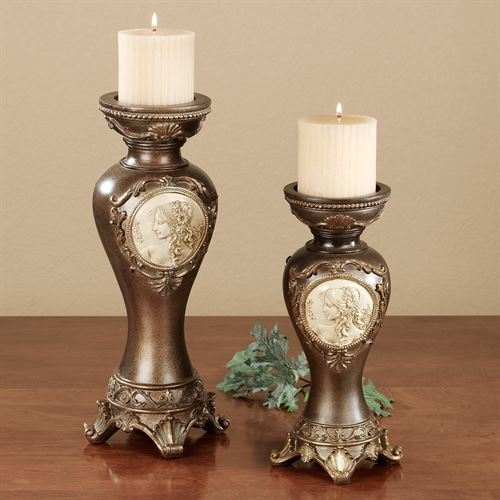 Rossella Cameo Candleholder Set Brown Set of Two