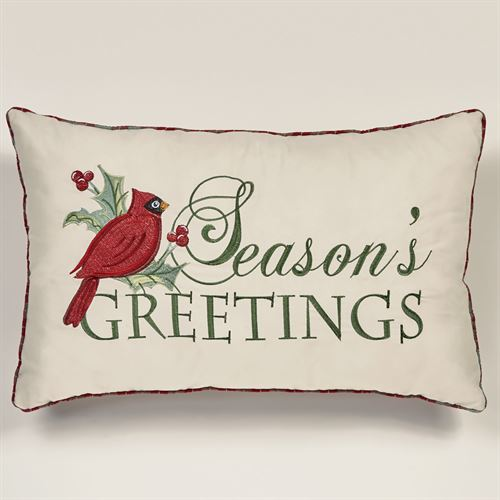 Wintersong Embroidered Pillow Ecru Rectangle