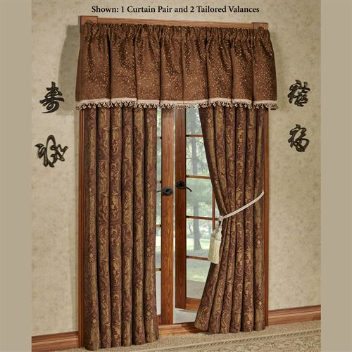 China Art Brown Wide Tailored Curtain Pair 104 x 84