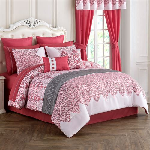 Kismet II Comforter Bed Set Coral