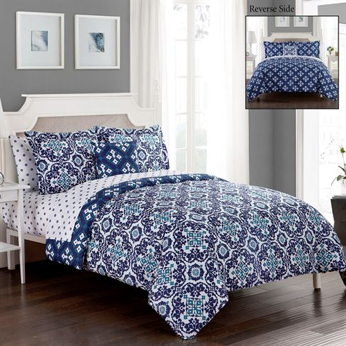 Batik Comforter Bed Set Indigo