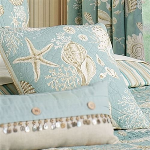 Natural Shells Quilted Pillow Aqua 14 Square Touch of Class
