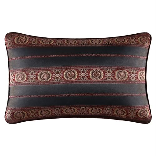 Bridgeport Red Piped Pillow Burgundy Rectangle
