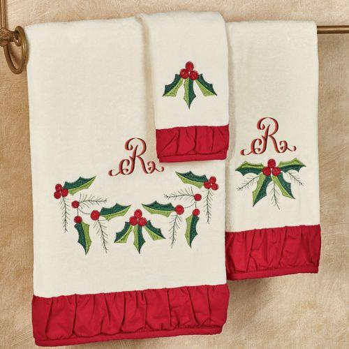 Holly Wreath Bath Towel Set Light Cream Bath Hand Fingertip