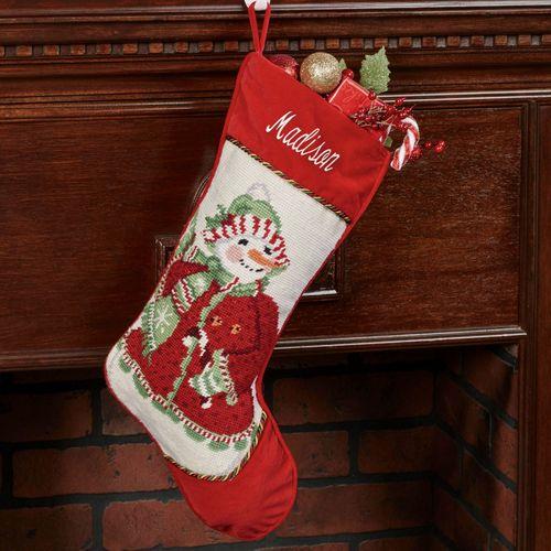 Heirloom Mrs Snowman Needlepoint Christmas Stocking Red