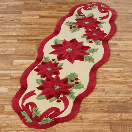 Holiday Ribbon Rug Runner Cream 26 x 8