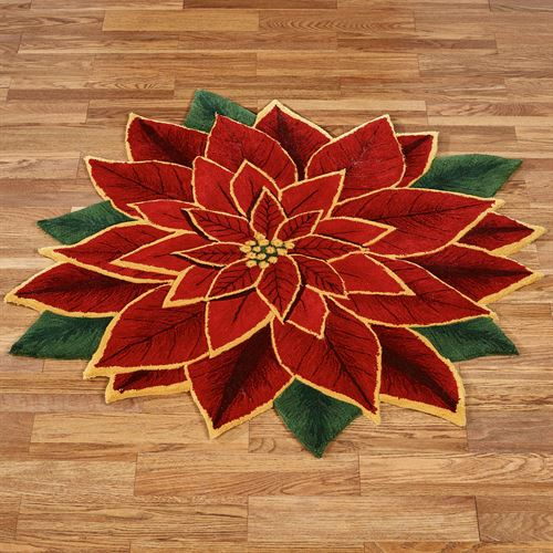 Elegant Poinsettia Round Rug Dark Red
