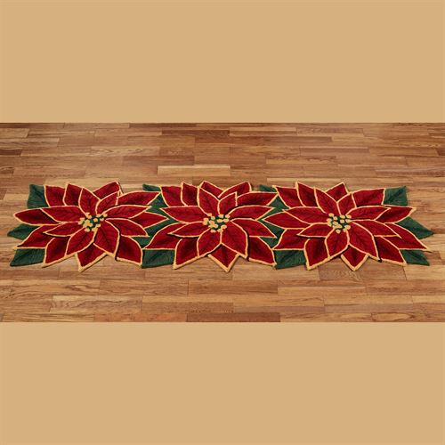 Elegant Poinsettia Rug Runner Dark Red 26 x 8