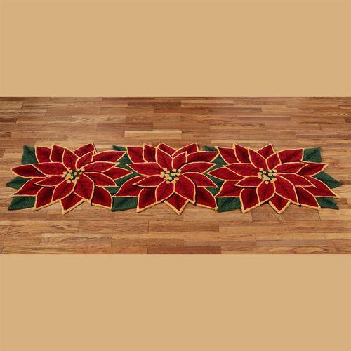Elegant Poinsettia Rug Runner Dark Red 26 x 8