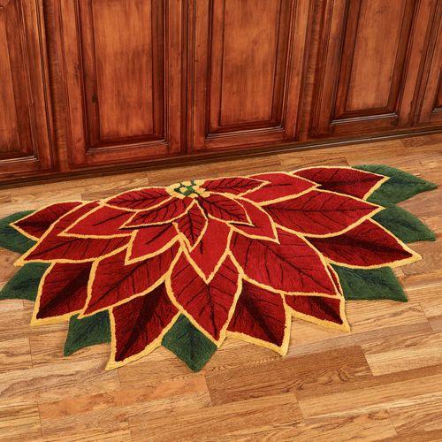 Elegant Poinsettia Slice Rug Dark Red 60 x 30