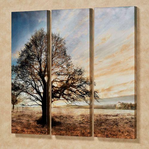 Illuminated Tree Triptych Canvas Wall Art Multi Warm Set of Three