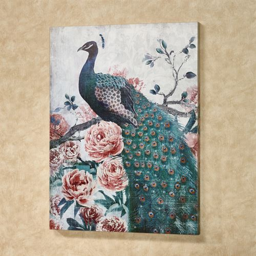 Peacock Splendor Canvas Wall Art Multi Warm