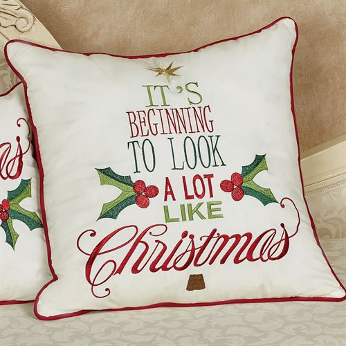 Look Like Christmas Decorative Pillow Ivory 18 Square