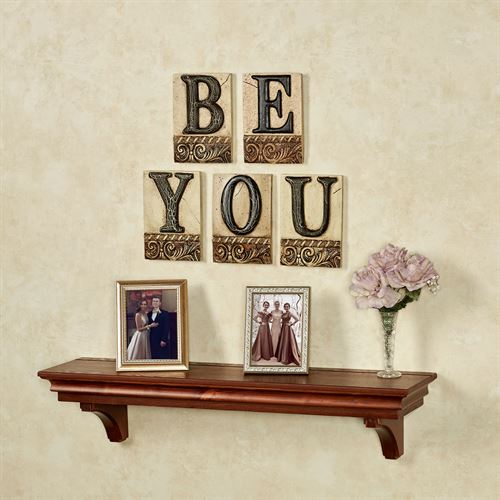 Be You Word Wall Plaque Set Ivory/Black