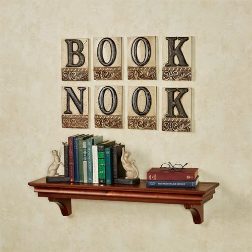 Book Nook Word Wall Plaque Set Ivory/Black