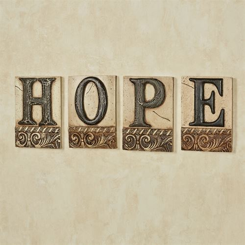 Hope Word Wall Plaque Set Ivory/Black