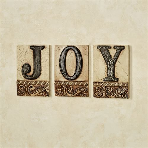 Joy Word Wall Plaque Set Ivory/Black