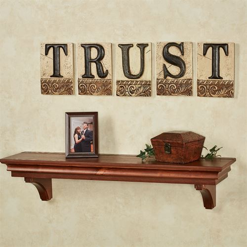 Trust Word Wall Plaque Set Ivory/Black