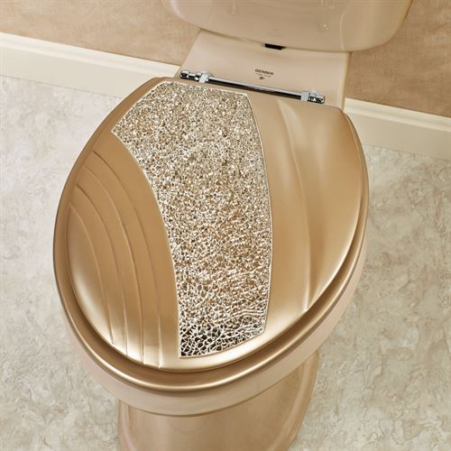 Glamour Mosaic Champagne Gold Elongated Toilet Seat