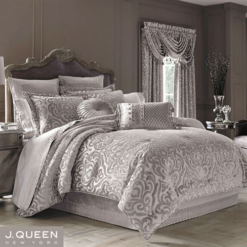 silver bed set sicily silver gray medallion comforter bedding by j 13148