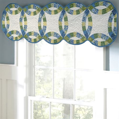 Arcadia Wedding Ring Patchwork Quilted Valance White 57 x 15