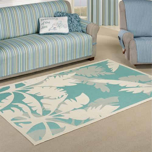 Koa Teal Tropical Palm Tree Indoor Outdoor Rugs