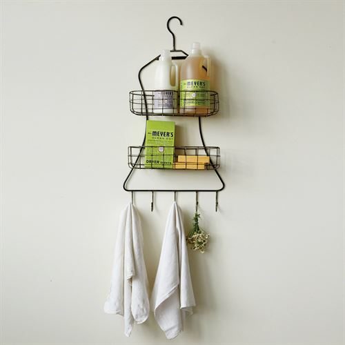 Clarisa Wall Basket with Hooks Black