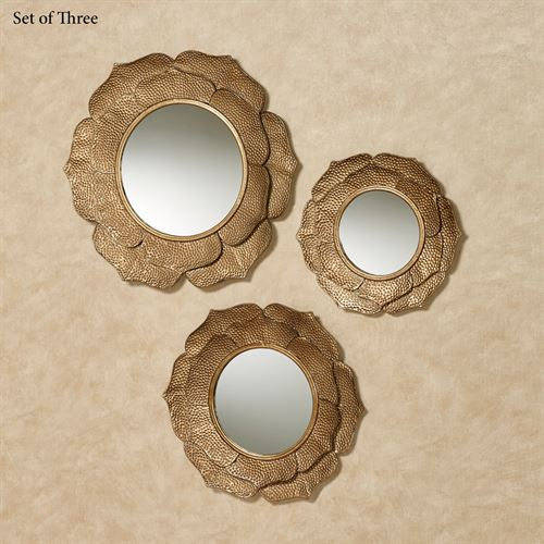Bianchi Mirrored Wall Accents Aged Gold Set of Three