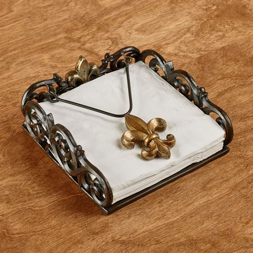 Fleur de Lis Napkin Holder Antique Bronze