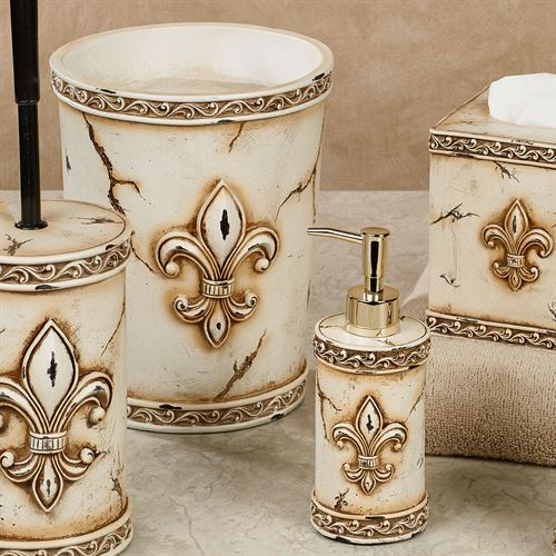 Aged Stone Fleur De Lis Bath Accessories. Aged Stone Lotion Soap Dispenser
