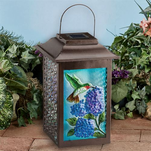 Hummingbird LED Solar Lantern Brown