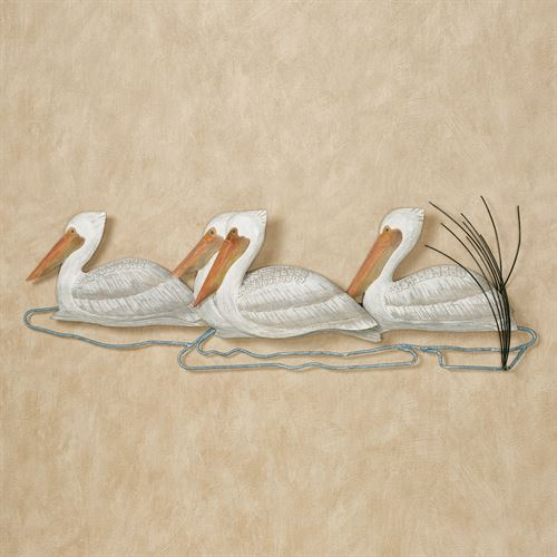 Pelicans Afloat Wall Art White
