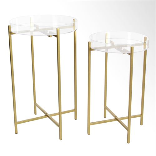 Mod Acrylic Accent Tables Gold Set of Two